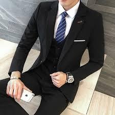 Wedding Dress English Version Aliexpress Com Buy 3 Pieces Black Suit Latest Coat Pant Designs