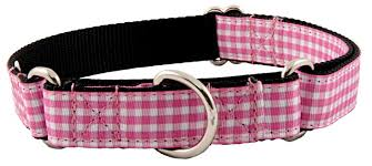 gingham ribbon buy pink and white gingham ribbon martingale dog collar online