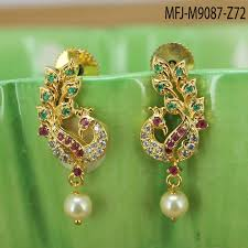 peacock design earrings cz ruby emerald stones with pearl drop peacock design gold