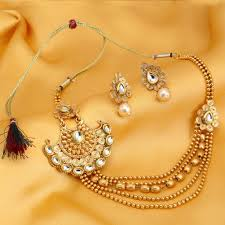 Buy Dazzling Kundan Set In Buy Necklace Sets Online Temple Jewellery Gold Plated Neckace