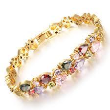 multi colored gold bracelet images Opk vintage multicolor cubic zirconia mona lisa woman bracelets jpg