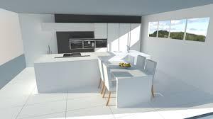 cuisine blanche avec ilot central très cuisine blanche sans poignées avec îlot