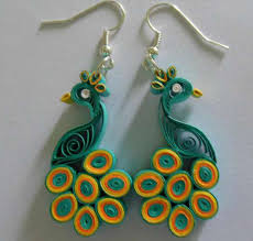 quilling earrings images multi color paper quilling peacock earring designs 2015