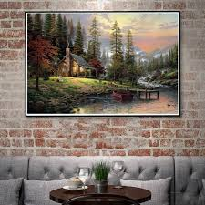 river home decor thomas kinkade mountains nature landscape river art silk poster
