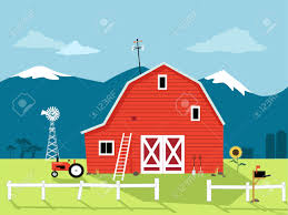 country scene with a red barn windmill and a tractor eps 8