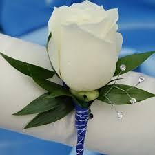 Rose Boutonniere White Single Rose Boutonniere Blue