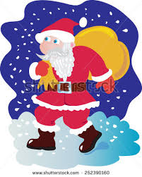 deliver presents santa claus setting on his stock vector 252390160