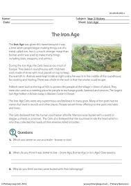 primaryleap co uk reading comprehension the iron age worksheet