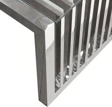 soho rectangular stainless steel cocktail table compass modern