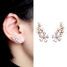ear cuff everu pair women s bling gold plated flower