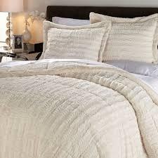 Fur Bed Set Concierge Collection Long Faux Fur Comforter Set Cream Full Queen