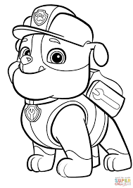 paw patrol rubble coloring page free printable coloring pages