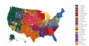 Texas Map Picture Texas Florida Ohio State Facebook Map Of College Football Fan