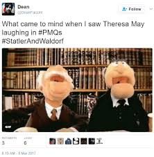 Waldorf And Statler Meme - statler and waldorf tweet laughing theresa may know your meme