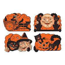 vintage halloween illustration amazon com beistle 4 pack halloween cutouts 9 inch halloween