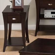hardwood 10 inch chairside end table furniture leick chairside l table with drawer medium oak wedge