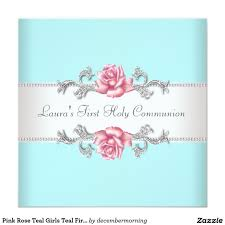 Invitation Card For Holy Communion Pink Rose Teal Girls Teal First Communion 5 25