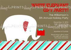 retro white elephant christmas party invitations artwork designed