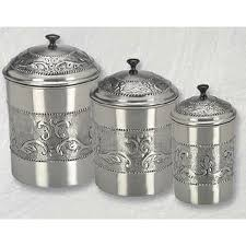 3 silver canister set pewter plated antique finish