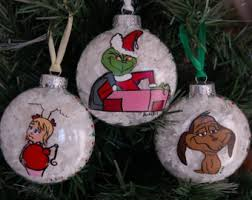 grinch ornaments set of 3 grinch lou by cowboycountrycrafts