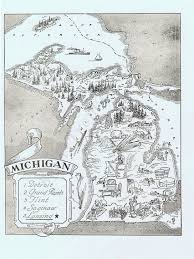 State Of Michigan Map Map Of Michigan Vintage Adorable Beautifully Illustrated
