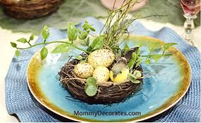 Spring Table Settings Use Blue This Easter Easter Place Setting Easter Egg Nest
