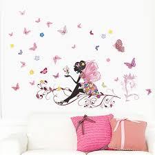 stickers arbre chambre fille fleur fée branche d arbre coloré papillon accueil decal wall