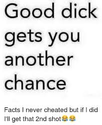 Good Dick Meme - good dick gets you another chance facts i never cheated but if i