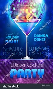 disco background winter cocktail party poster stock vector