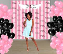 pink stripes party personalized photo backdrop 15th birthday