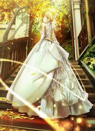 wedding dress anime braids saber dress anime fate stay saber