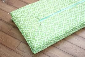 green bench cushion golden boys and me no sew bench cushion