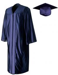 academic robes shiny navy blue cap gown graduationsource
