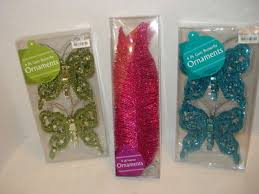 set of 4 blue butterfly glitter sequin clip