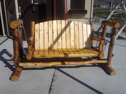 furniture rustic wooden porch glider for rustic home exterior