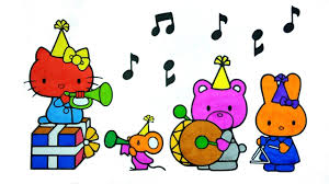 coloring kitty mouse bear rabbit playing drums