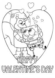 sandy and spongebob valentine coloring page valentine coloring