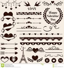 love romance and wedding design elements vector set stock