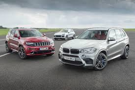 bmw jeep jeep grand cherokee srt vs porsche cayenne turbo s vs bmw x5 m