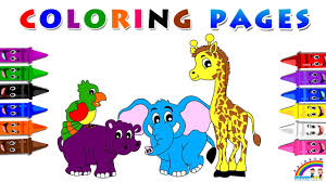 learn animals with coloring pages animals for kids how to paint