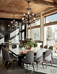Pretty Chandeliers by Inspiring Rectangle Shape Rustic Kitchen Dining Table Featuring