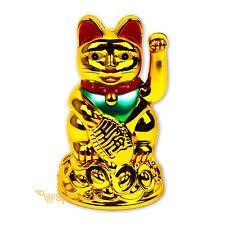 feng shui lucky beckoning cat ornament maneki neko glass and blue