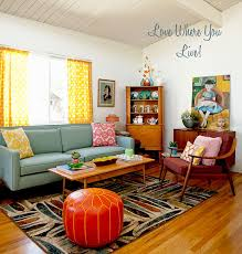 Mid Century Living Room Living Room Interesting Bright Colored Living Rooms Decorating