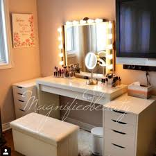 Lighted Vanity Table With Mirror And Bench Desk Bedroom Vanity With Lights For Sale Table Throughout And