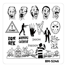 halloween nail stamp plates house of horrors zombie vs icons