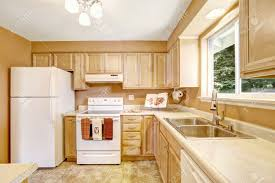 new wooden kitchen cabinets in light tones with white appliances