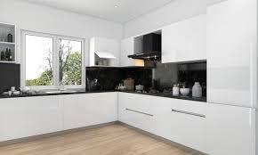 cuisine blanche et plan de travail bois cuisine blanche avec plan de travail bois simple sobre et chic la