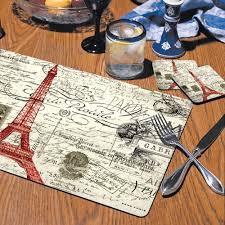 amazon com counterart vintage paris hardboard placemat set of 2