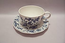 nikko ironstone blue bonnet pattern cup saucer china and