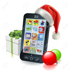 mobile phone with santa hat gift and baubles royalty